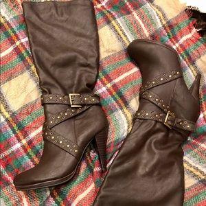 Tallulah. B Hi Heel Tall Boots with Bronze Accents